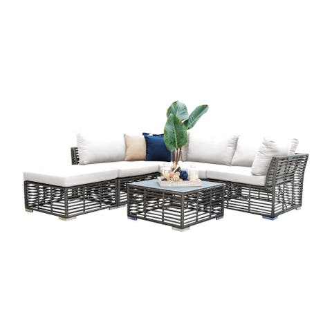 Panama Jack Graphite Aluminum 6-piece Sectional Set