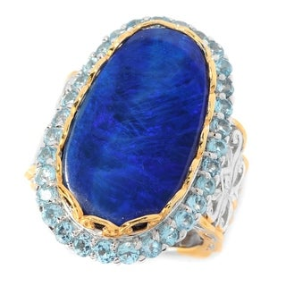 Michael Valitutti Palladium Silver Boulder Opal Doublet & Swiss Blue Topaz Elongated Ring