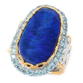 Michael Valitutti Palladium Silver Boulder Opal Doublet & Swiss Blue Topaz Elongated Ring