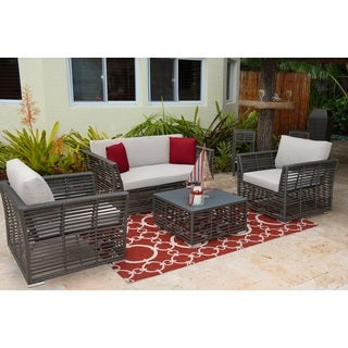 Panama Jack Graphite HDPE Synthetic Wicker 4-piece Living Set