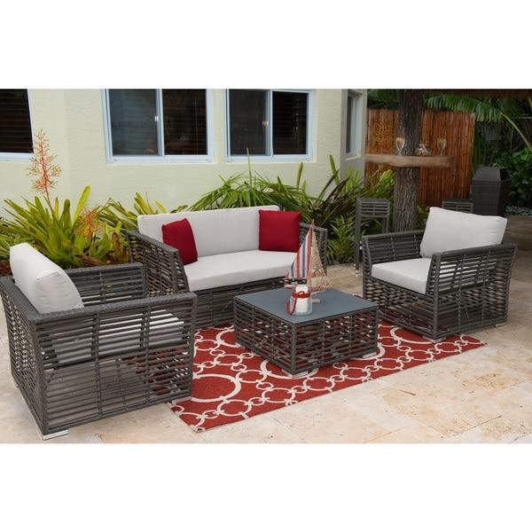 Panama Jack Graphite HDPE Synthetic Wicker 4-piece Living Set