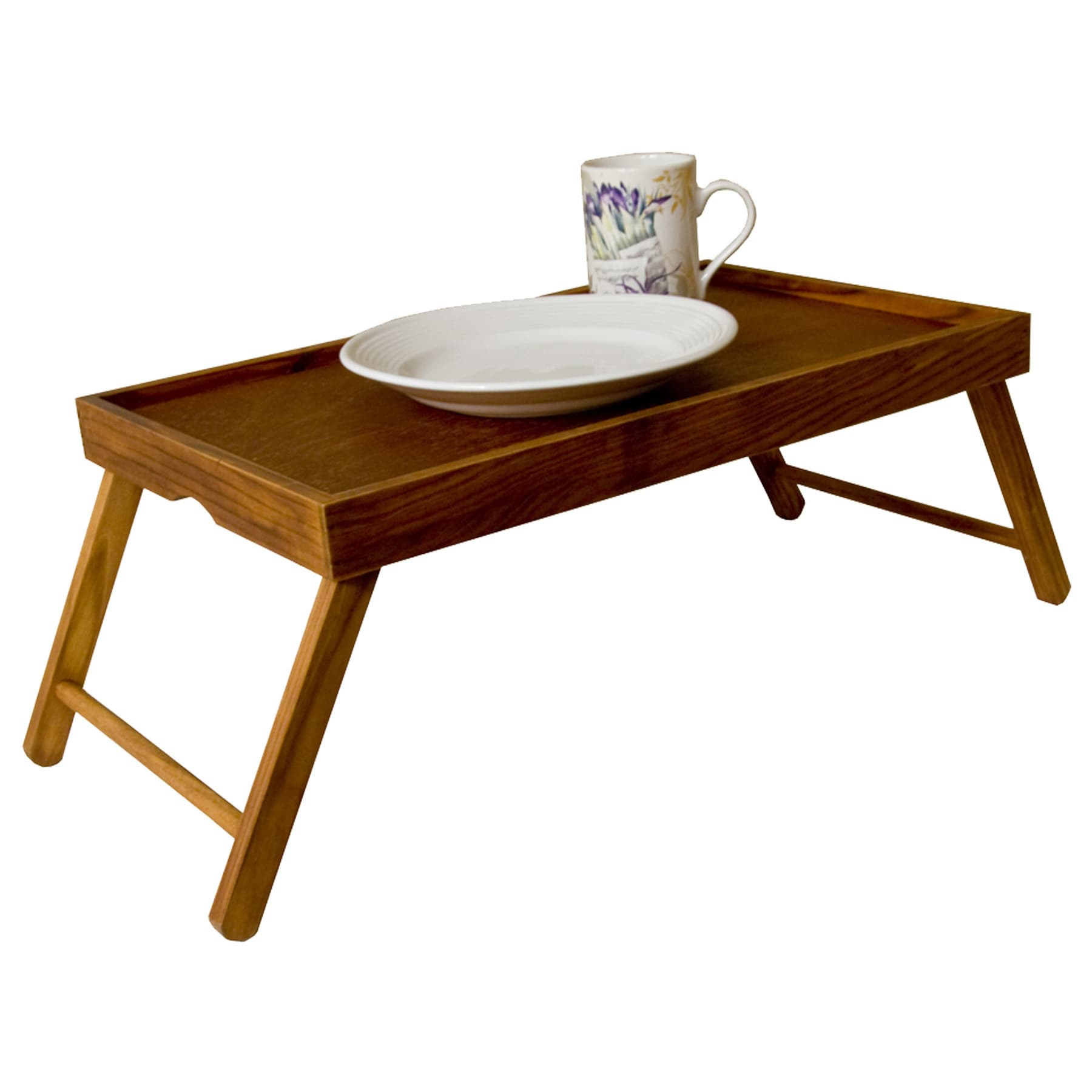Home Basics Pine Bed Tray with Folding Legs (Pine), Green...