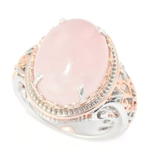 Michael Valitutti Palladium Silver Rose Quartz Cocktail Ring