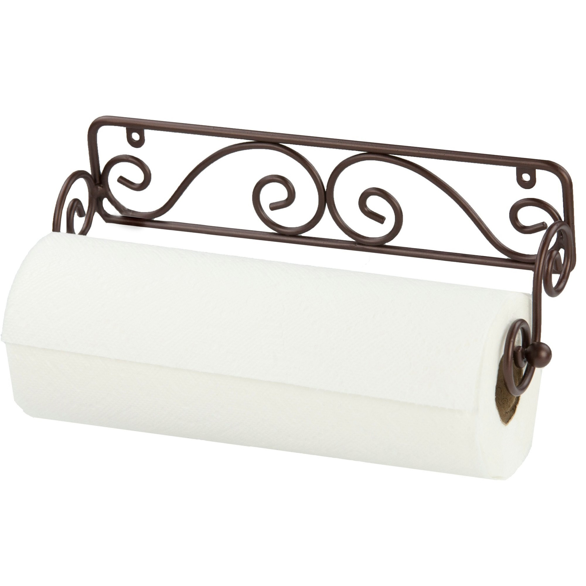 Home Basics Scroll Collection Steel Wall Mounted Paper Towel Holder