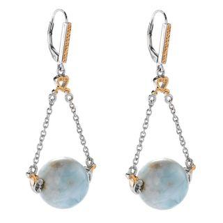 Michael Valitutti Palladium Silver Larimar Bead Chain Drop Earrings