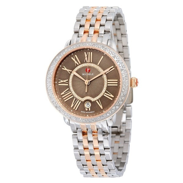 998826c2a448 Shop Michele Women's Serein Mid Diamond Two Tone Rose Gold, Cocoa Diamond  Dial Watch - Free Shipping Today - Overstock - 16934892
