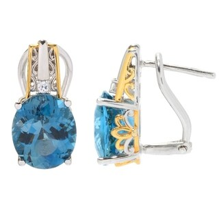 Michael Valitutti Palladium Silver London Blue Topaz & White Zircon Earrings w/ Omega Backs