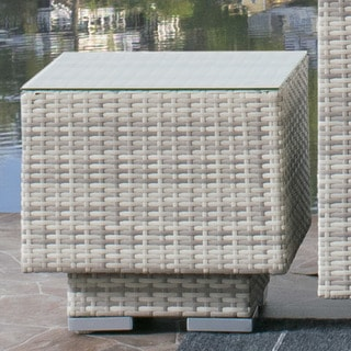 CorLiving Azure UV and Weather Resistant Outdoor Patio Wicker Side Table with Glass Top