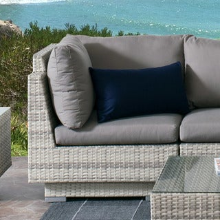 CorLiving Azure Wicker Outdoor Patio Corner Chair With Sunbrella Cushions
