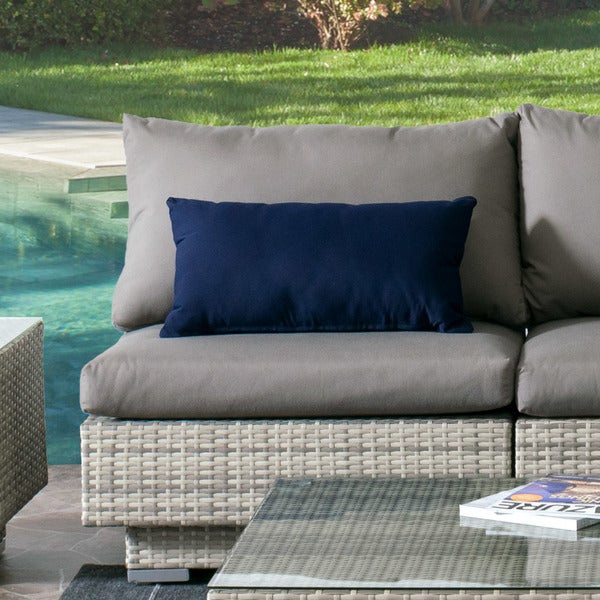 Shop Corliving Azure Blue Grey Wicker Sunbrella Cushions