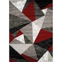 "Plait Red/Grey/Black Pyramids Rug (5'3"" x 7'7"")"