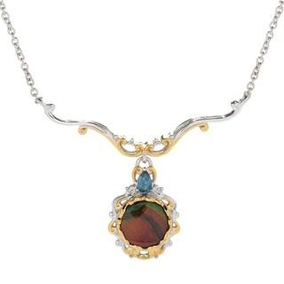 Michael Valitutti Palladium Silver Ammolite Triplet & London Blue Topaz Necklace