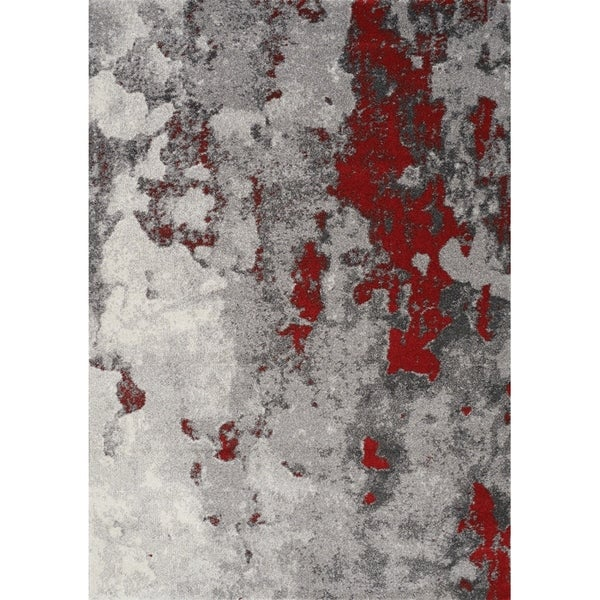 """Forest Grey/Red Faded Covering Rug (7'10"""" x 10'6"""") - 7'10"""" x 10'6"""""""