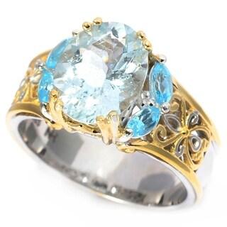 Michael Valitutti Palladium Silver Oval Aquamarine & Swiss Blue Topaz Scrollwork Ring