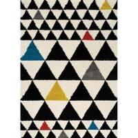 "Marko Black/White Primary Pop Triangles Soft Touch Rug (7'10"" x 10'10"")"