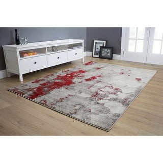 """Forest Grey/Red Faded Covering Rug (5'3"""" x 7'7"""") - 5'3"""" x 7'7"""""""