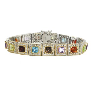 Michael Valitutti Palladium Silver Princess Cut Multi Gemstone Tennis Bracelet