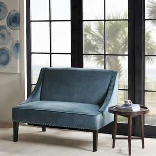 madison park calla blue brown swoop arm settee