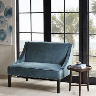 Madison Park Calla Blue/ Brown Swoop Arm Settee