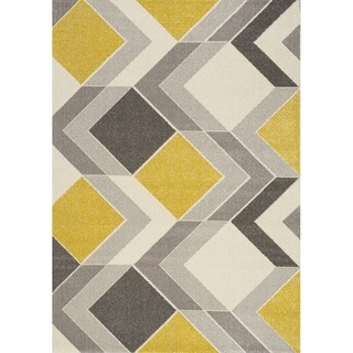 "Stella Grey/Cream/Yellow Multi-Dimensional Rug (5'3"" x 7'7"")"