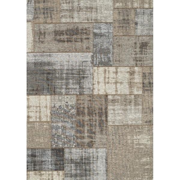 """Curio Grey/Cream Vintage Patchwork Rug (7'6"""" x 10'10"""") - 7'6"""" x 10'10"""""""