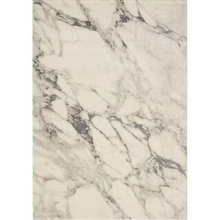 "Inertia Cream/Grey Marble Splatter Rug (5'3"" x 7'7"") - 5'3"" x 7'7"""