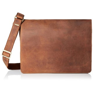 Visconti Distressed Leather Messenger Bag (Option: Beige)