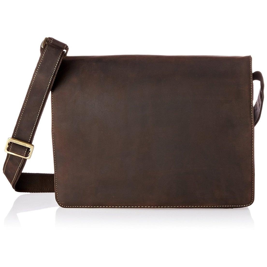 Visconti Distressed Leather Messenger Bag (Cafe), Brown