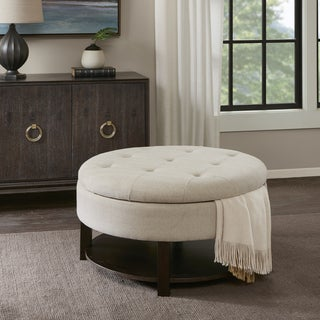 Madison Park Javier Cream/ Morocco Round Storage Ottoman