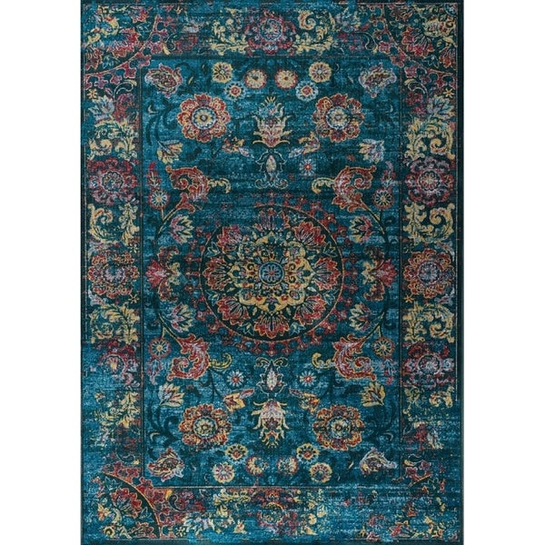 Shop Astrid Blue Red Faded Vintage Border Rug 6 7 Quot X 9 10