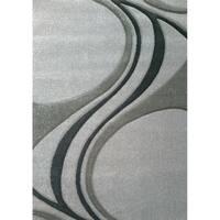 "Heratio Grey Parallel Swirls Rug (1'11"" x 3'7"")"
