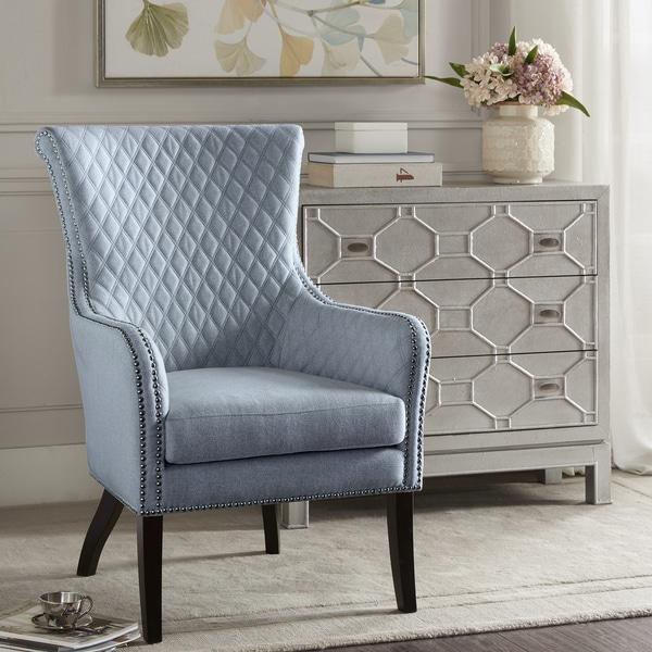 Madison Park Lea Light Blue/ Black Accent Arm Chair