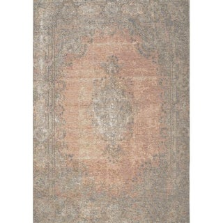 "Curio Salmon/Grey Vintage Border Rug (5'1"" x 7'7"") - 5'1"" x 7'7"""