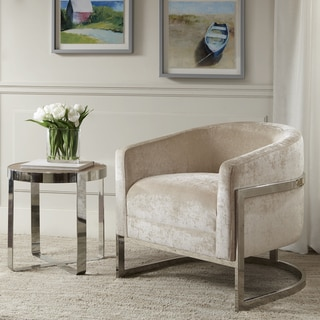 Link to Madison Park Mateo Cream and Chrome Accent Chair Similar Items in Accent Chairs