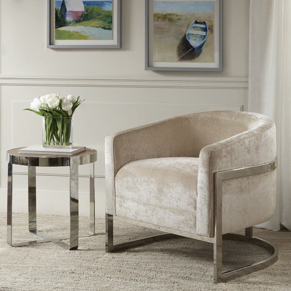 Excellent Shop Madison Park Mateo Cream Chrome Accent Chair On Sale Dailytribune Chair Design For Home Dailytribuneorg