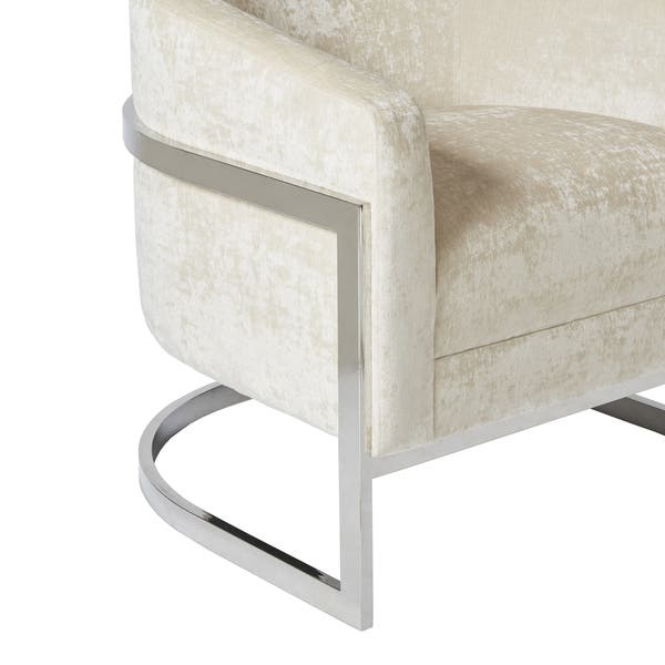 Groovy Shop Madison Park Mateo Cream Chrome Accent Chair On Sale Dailytribune Chair Design For Home Dailytribuneorg