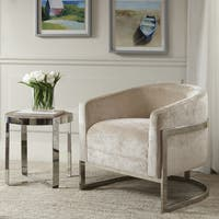 Madison Park Mateo Cream/ Chrome Accent Chair