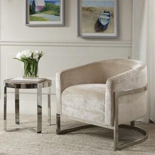 Madison Park Mateo Cream/ Chrome Accent Chair