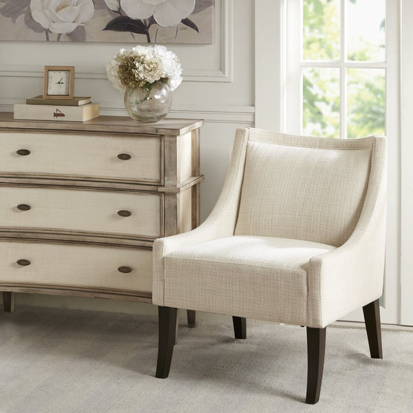 Shop Madison Park Cofeman Cream Brown Accent Chair Free