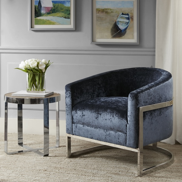 Madison Park Mateo Blue/ Chrome Accent Chair. Opens flyout.