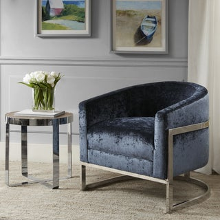 Madison Park Mateo Blue/ Chrome Accent Chair