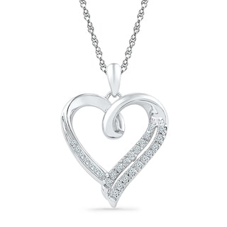 Sterling Silver Round Diamond in Heart Pendant - White I-J