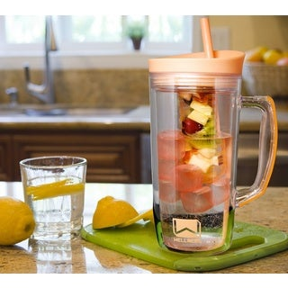 34oz Dbl-Wall Infuser Sports Bottle with Ice Cubes