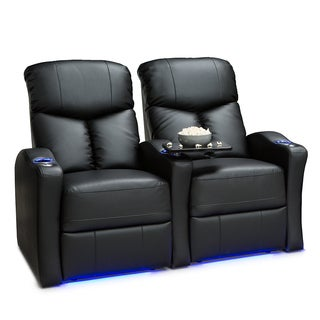 Seatcraft Raleigh Leather Gel Home Theater Seating Power Recline - Row of 2, Black