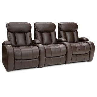 seatcraft sausalito brown leather gel manual reclining home theater seating row of 3