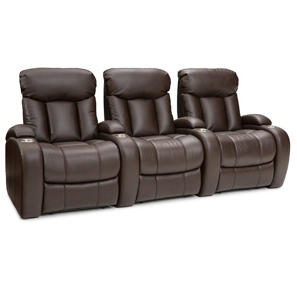 Seatcraft Sausalito Leather Gel Home Theater Seating Manual Recline with Cup Holders Brown Row of 3