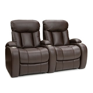 Seatcraft Sausalito Brown Leather Gel Manual Recline Home Theater Seating Row of 2