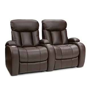 Seatcraft Sausalito Leather Gel Home Theater Seating Manual Recline with Cup Holders Brown Row of 2