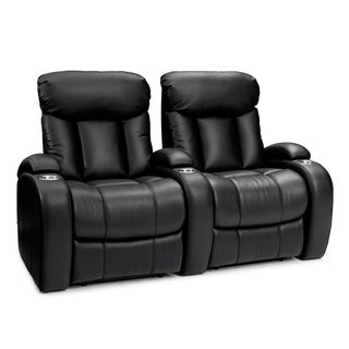 Seatcraft Sausalito Black Leather Gel Power Recline Home Theater Seating (Row of 2)