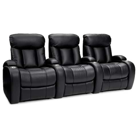 Seatcraft Sausalito Leather Gel Home Theater Seating Manual Recline with Cup Holders Black Row of 3